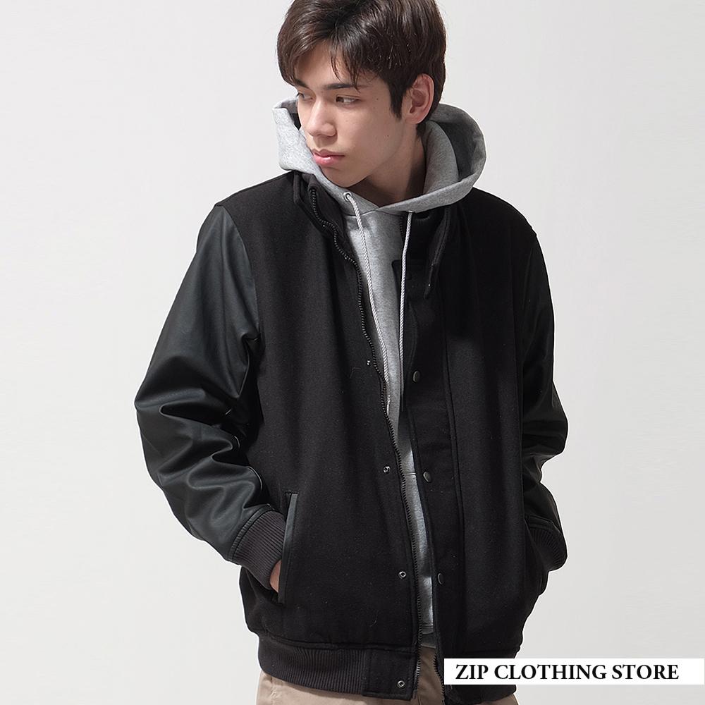 混羊毛連帽棒球外套(6色) ZIP日本男裝