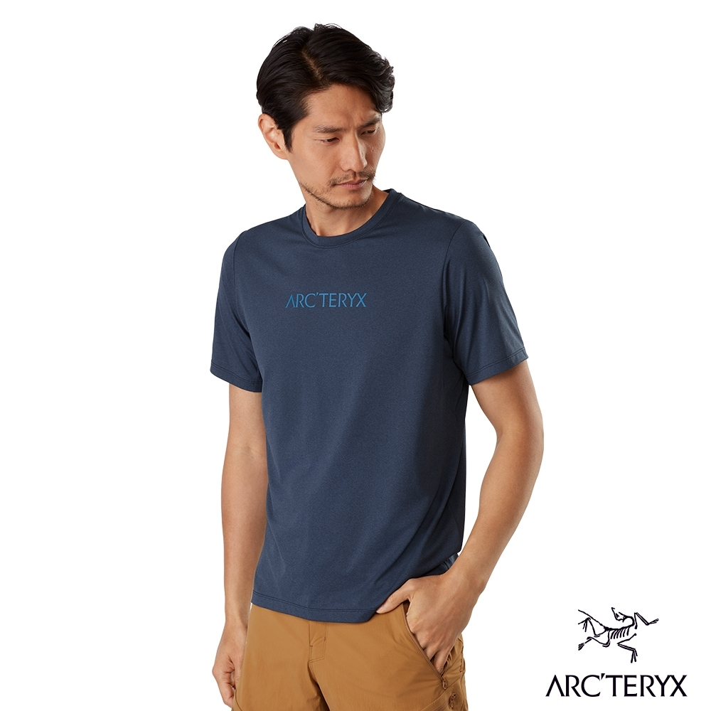 Arcteryx 始祖鳥 男 Remige LOGO 快乾 短袖 圓領衫 夜月藍