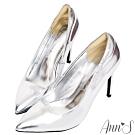 Ann'S俐落美型-質感素面漆皮光感高跟尖頭鞋-銀