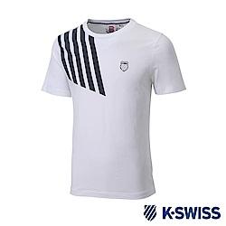 K-SWISS Jersey T-Shirt印花短袖T恤-男-白