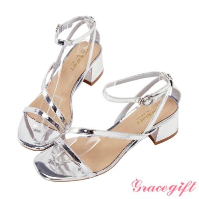 Grace gift-方頭一字斜帶中跟涼鞋 銀