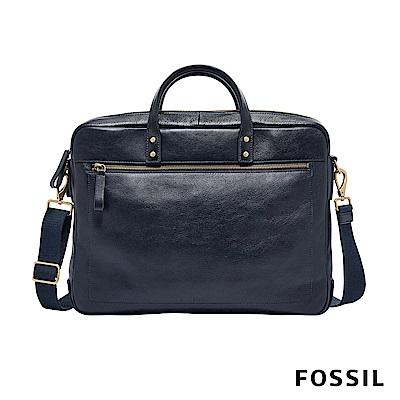 FOSSIL HASKELL 雙層手提/側背兩用公事包-海軍藍