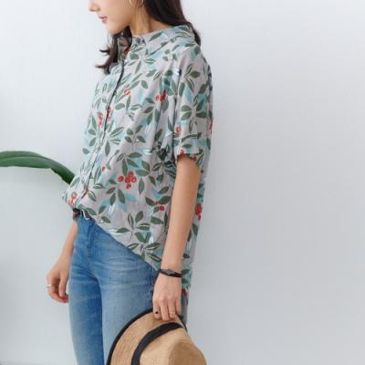 慢 生活 綠葉紅果印花薄款棉料襯衫- 綠色