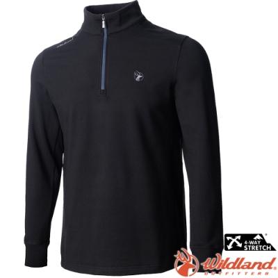 Wildland 荒野 0A72612-54黑色 男彈性拉鍊保暖上衣小立領中層衣
