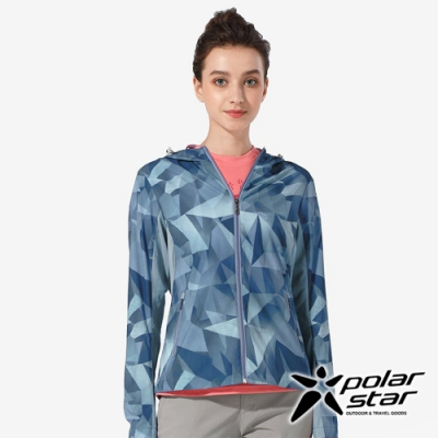 PolarStar 女 抗UV印花連帽外套『灰藍』 P20106