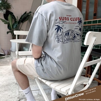 DITION 加州SURF衝浪俱樂部短T 落肩oversize短袖上衣 日日衝好浪 冠軍