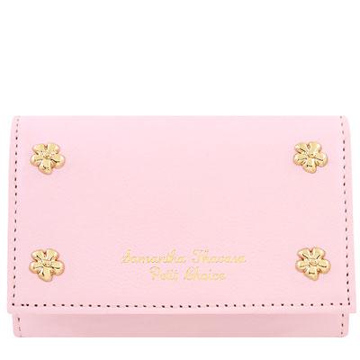 Samantha Thavasa 粉紅色花朵鉚釘皮革證件名片短夾