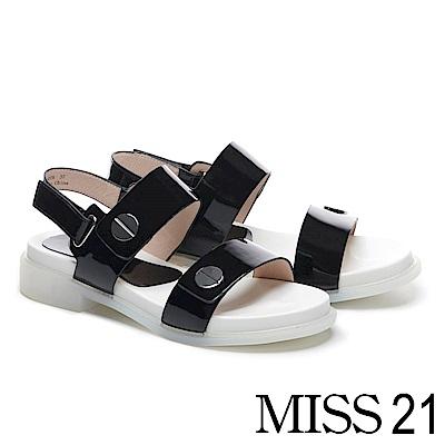 涼鞋 MISS 21 摩登個性亮漆皮圓釦造型真皮厚底涼鞋-黑