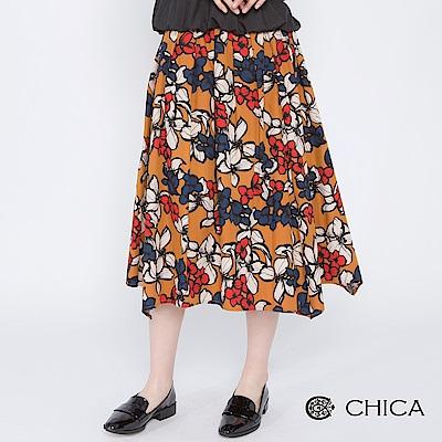 CHICA 歐姬芙奇想花藝打褶中長裙(2色)