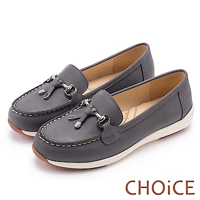 CHOiCE 減壓舒適款 質感牛皮手縫厚底平底鞋-灰色