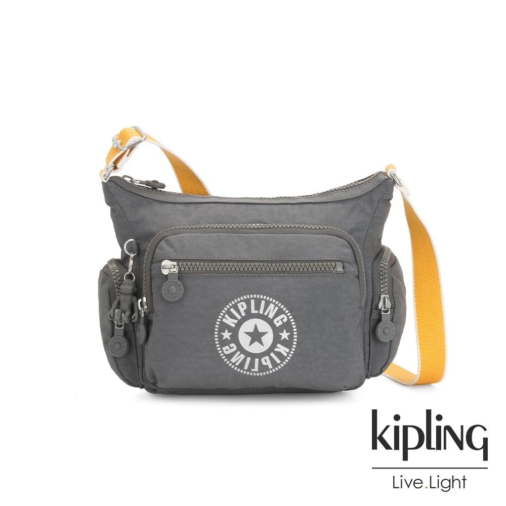 Kipling 質地灰品牌經典圓標多袋實用側背包-GABBIE S