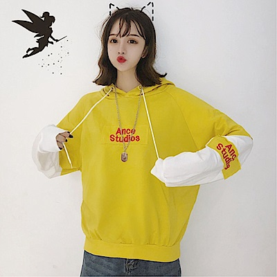 DABI 韓系字母刺繡撞色拼接假兩件連帽長袖上衣