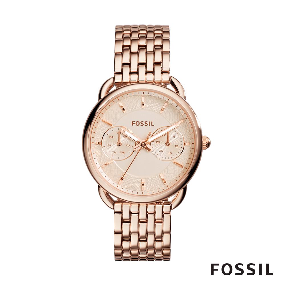 FOSSIL TAILOR 玫瑰金多功能不鏽鋼女錶 35mm ES3713