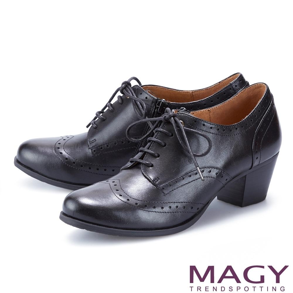 MAGY 經典花邊綁帶真皮中跟 女 牛津鞋 黑色