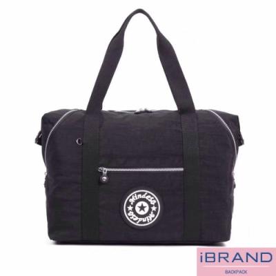iBrand 輕盈素色防潑水尼龍側背旅行袋(多色任選)