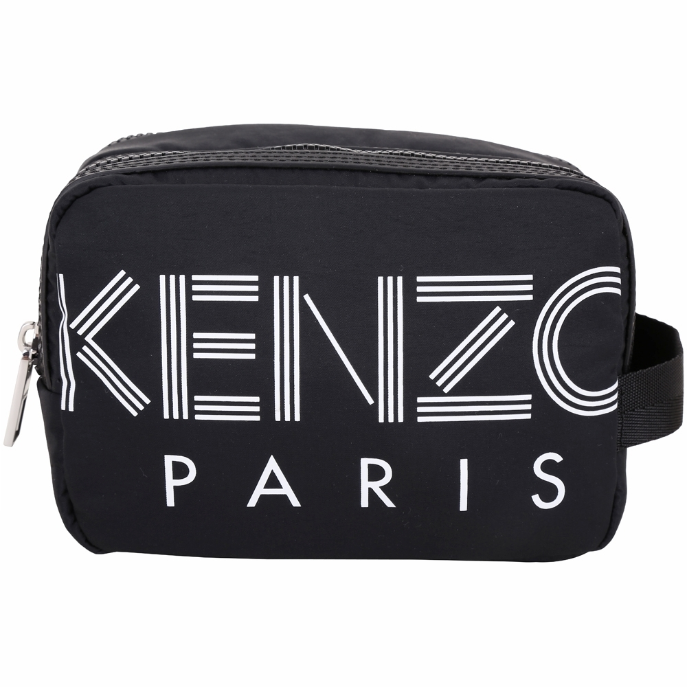 KENZO 幾何線條K Logo尼龍雙拉鍊萬用包/手挽包(黑色)