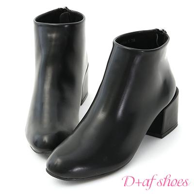 D+AF 質感定番.簡約素面軟皮中跟短靴*黑