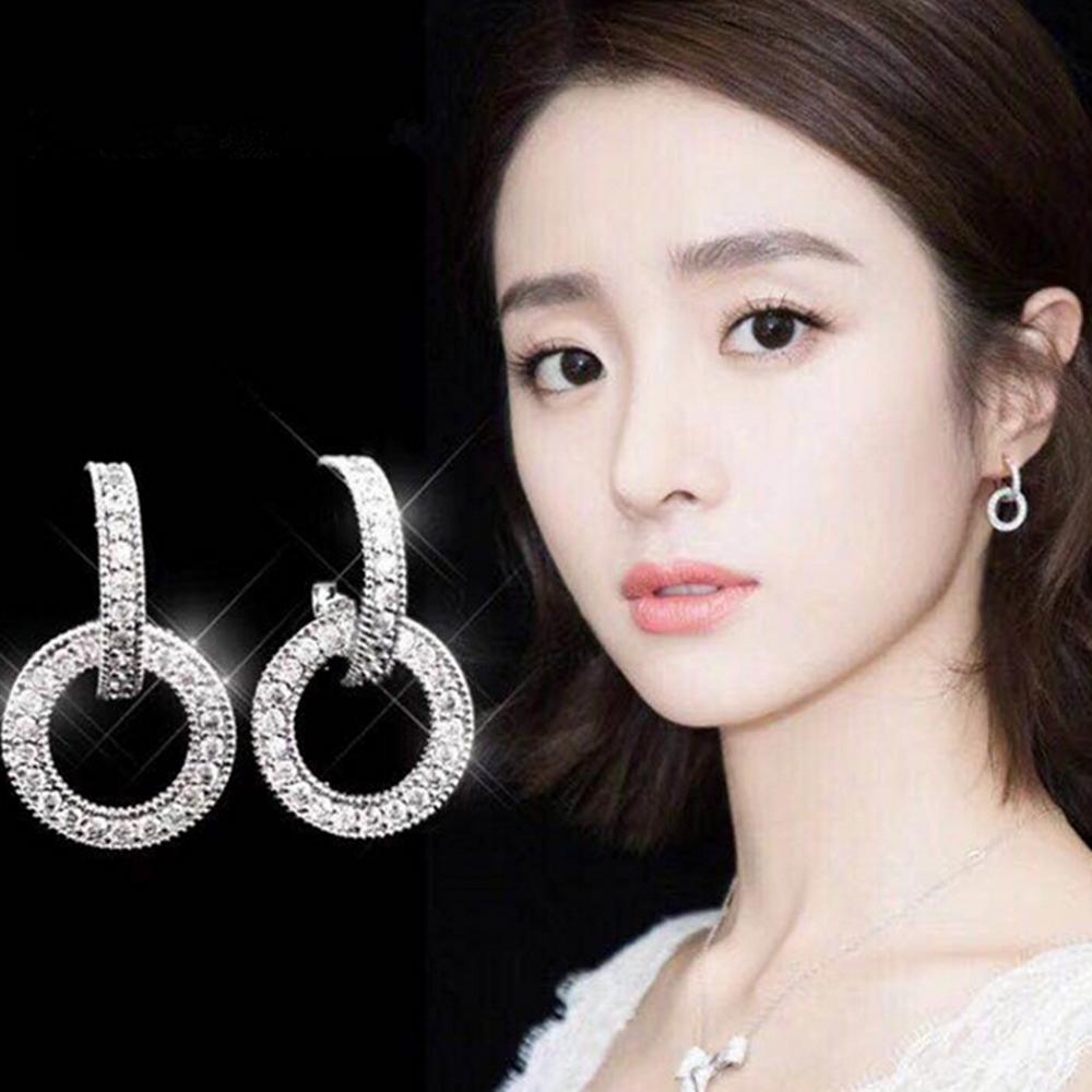梨花HaNA  韓國925銀金秘書為何那樣鑽圈雙環耳環銀色