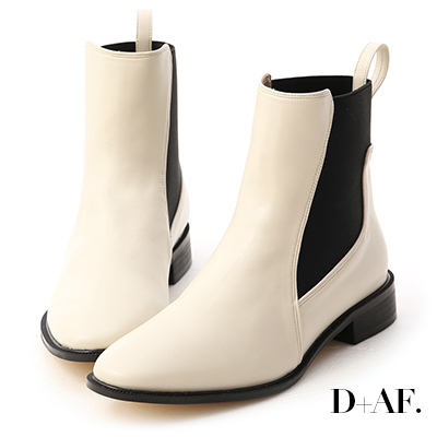 D+AF 酷派率性.撞色拼接切爾西短靴*米白