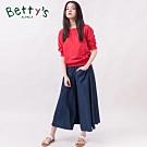betty's貝蒂思 百搭鬆緊寬鬆闊腿牛仔寬褲(深藍)