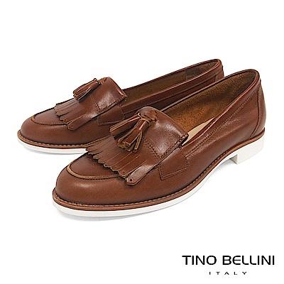 Tino Bellini 義大利進口文青學院風雙層流蘇莫卡辛鞋 _ 棕