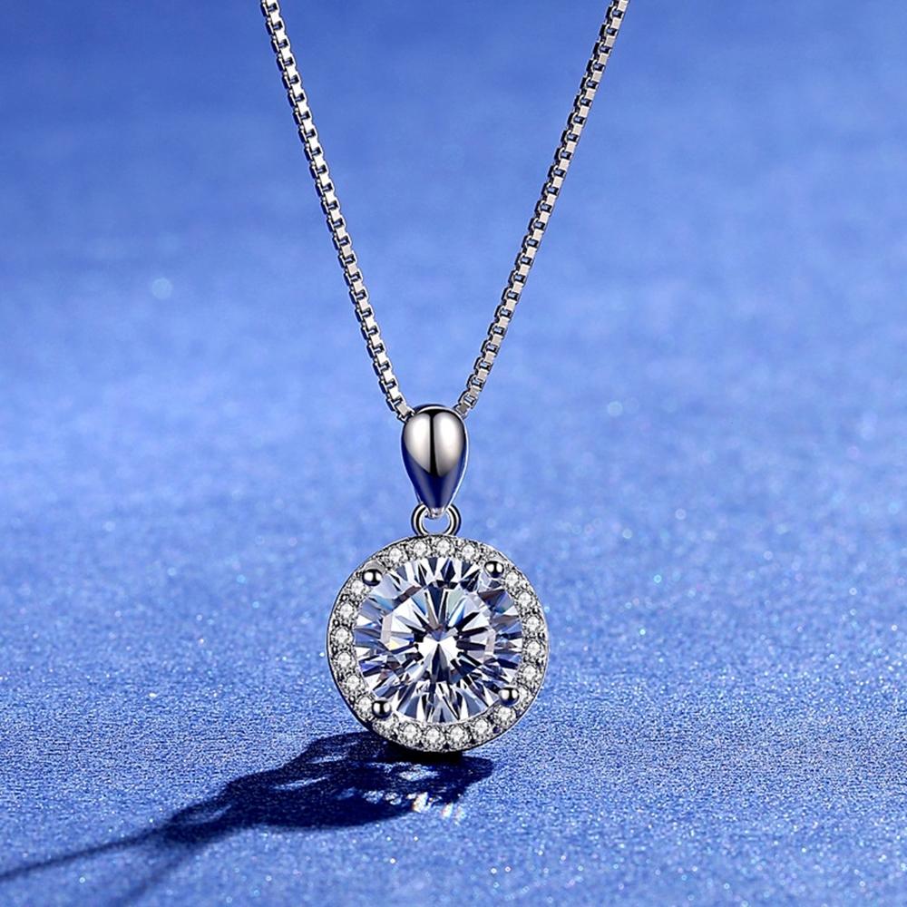 米蘭精品 莫桑鑽項鍊925純銀吊墜-3克拉圓形滿鑽時尚聖誕節情人節生日禮物女飾品73yk102