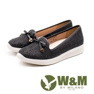 W&M 亮鑽蝴蝶結淺口樂福鞋 女鞋 - 黑(另有米)