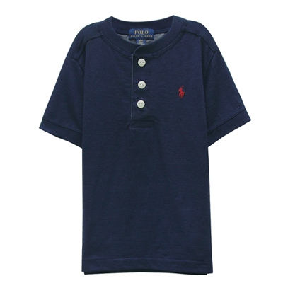 Ralph Lauren 小童經典小馬亨利領短袖t恤-深藍色(3/3T)
