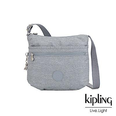 Kipling 極簡風淺灰丹寧前拉鍊側背包-ARTO
