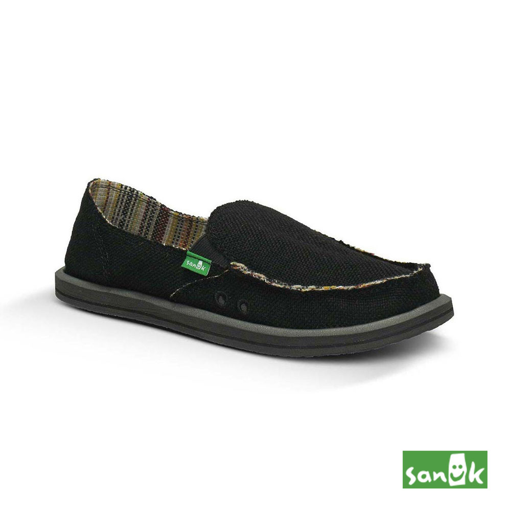 SANUK 素面麻布內條紋懶人鞋-女款(黑色)SWF1160 BLK