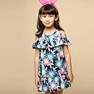 Azio 女童 洋裝 滿版太陽花露肩背釦洋裝(藍)