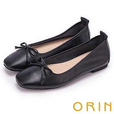 ORIN 氣質女孩 經典素面牛皮平底娃娃鞋-黑色