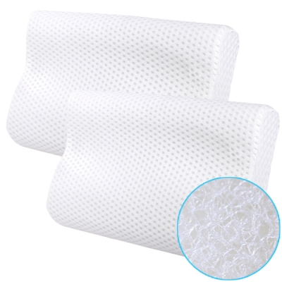 CooFeel 高效透氣可水洗3D纖維立體彈力枕(小)-白色2入
