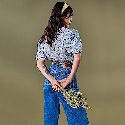 Levis 女款 High Loose 復古超高腰牛仔寬褲 中藍基本款 寒麻纖維 形象款