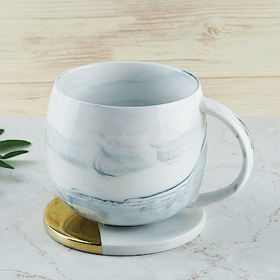 [Caldo卡朵生活] 山脈悠悠大理石紋馬克杯(加贈陶瓷杯墊)