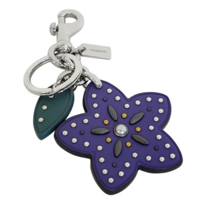 COACH紫色鉚釘小花葉片掛飾雙扣環鑰匙圈