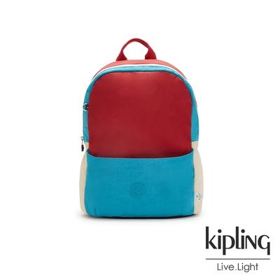 Kipling 時髦藍復古紅拼接經典實用後背包-SONNIE