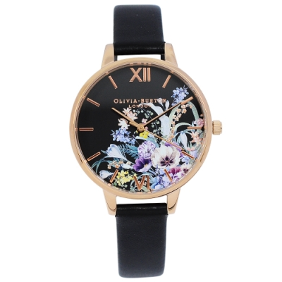 Olivia Burton 英倫復古手錶 魔法花園 黑色環保皮革錶帶玫瑰金錶框34mm