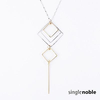 獨身貴族 簡約菱形幾何層疊雙色長項鍊(1色)