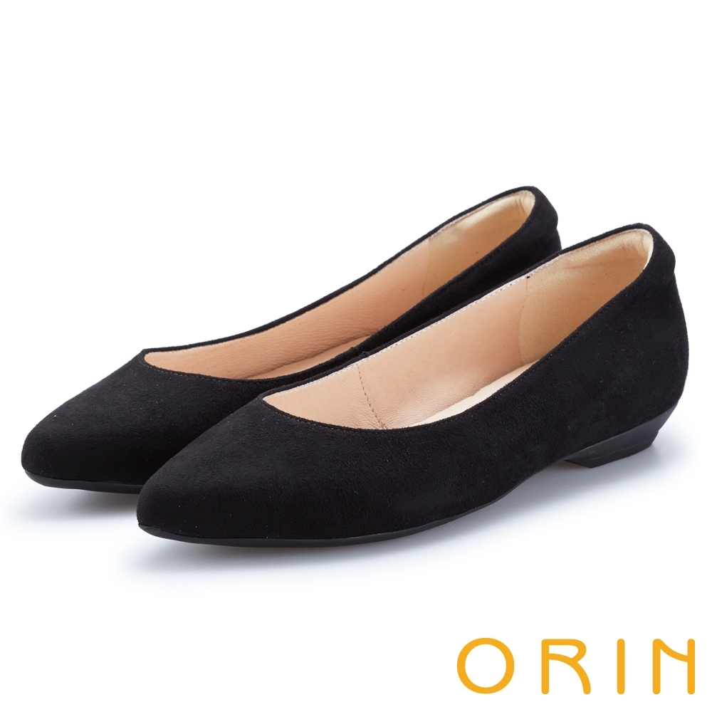 ORIN 都會時尚 質感絨布尖頭低跟鞋-黑色