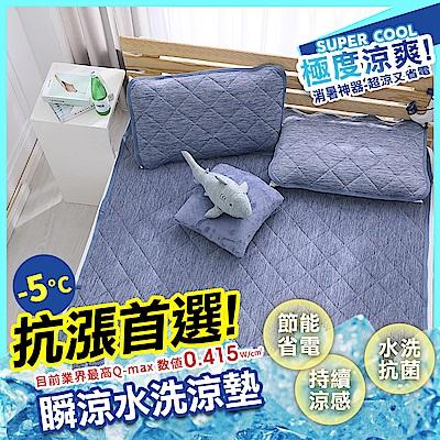 鴻宇 涼感-5度C 瞬涼可洗抗菌雙人加大保潔墊 SUPERCOOL接觸涼感