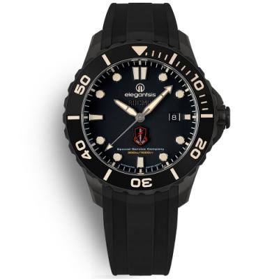 elegantsis 海軍陸戰隊特勤 機械錶 鈦金屬 防水300米 矽膠手錶-黑色/44mm