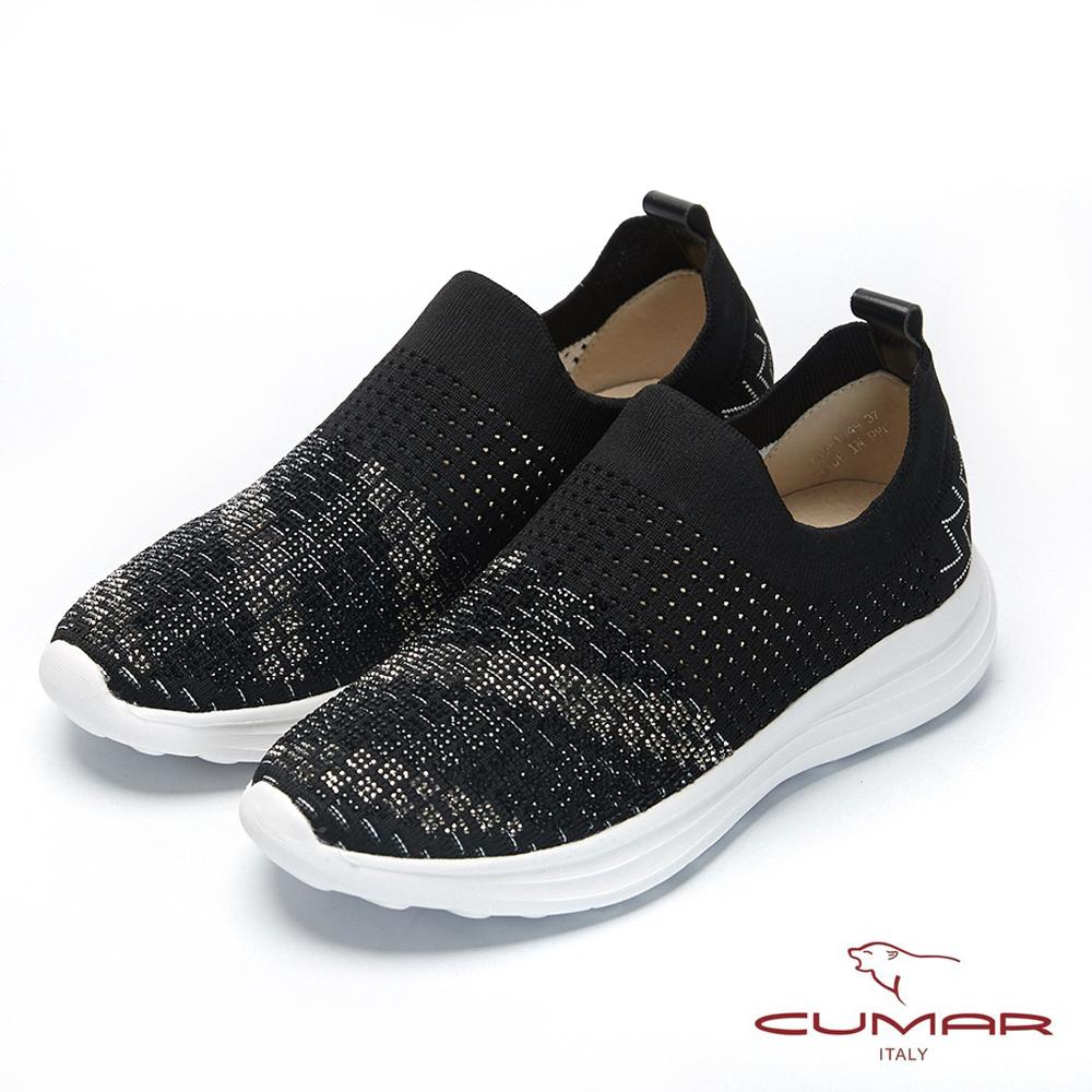 【CUMAR】悠遊輕井澤- 彈力飛織布碎鑽裝飾休閒鞋-黑