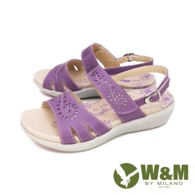 W&M(女) 雕花黏扣帶 厚底彈力涼鞋 女鞋 -紫 (另有白. 粉)