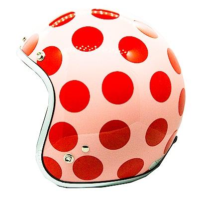 點點安全帽 (淡粉紅+紅點)