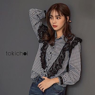 東京著衣 IG穿搭蕾絲異材質拼接格紋襯衫-S.M(共一色)
