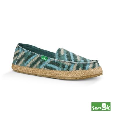 SANUK 女款US7 曲折紋草編底休閒鞋(湖水藍)