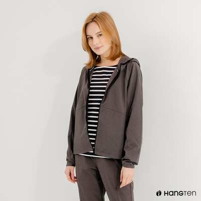 Hang Ten-女裝-恆溫多功能-四面彈防輕潑水連帽外套-灰色