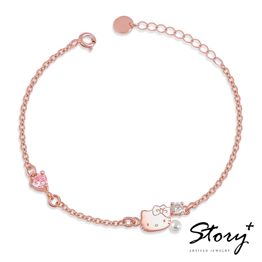 STORY故事銀飾-PinkHolic 閃亮粉紅時代手鍊-Hello Kitty 款