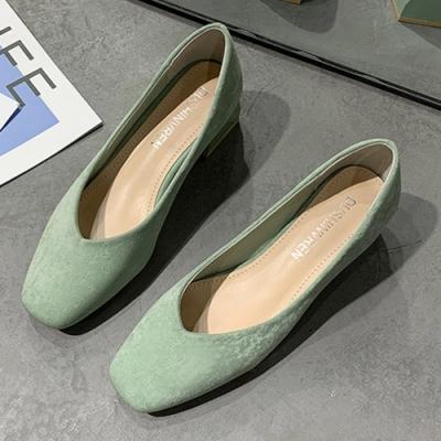 KEITH-WILL時尚鞋館 韓國氣質學院優雅方頭跟鞋-綠